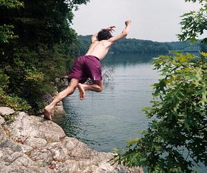 boy, sea, and jump image