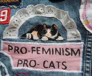 cat, feminism, and grunge image