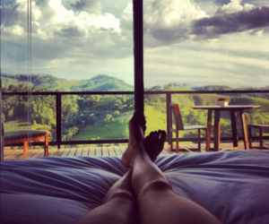 legs, bed, and window image