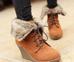 boots, fur, and brown image