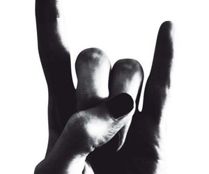 rock, hand, and black and white image