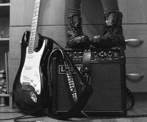 girl, black and white, and guitar image