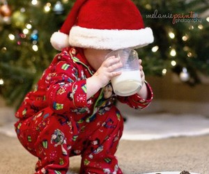 baby, santa clause, and christmas eve image