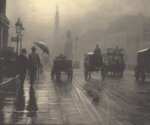 black and white, vintage, and rain image