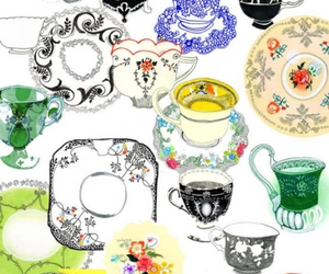 flowers, pattern, and tea cups image