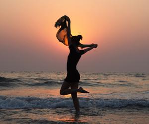 beach, girl, and light image