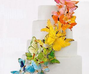 rainbow, butterflies, and cake image
