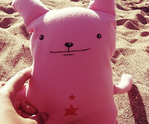 beach, pink, and star image
