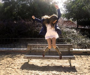 brunette, girl, and jump image