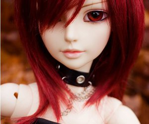 big eyes, doll, and red hair image