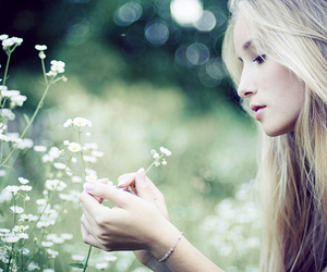 girl, flowers, and blonde image