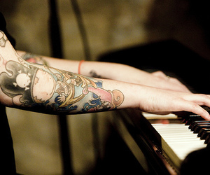 piano, tattoo, and arm image