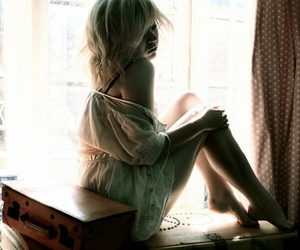 girl, blonde, and window image