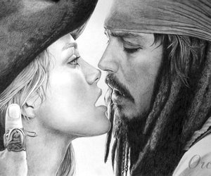 captain jack sparrow, keira knightley, and pirates of the caribbean image