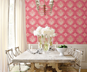 pink, dining room, and decor image