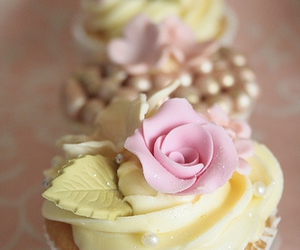 cream, cupcake, and food image