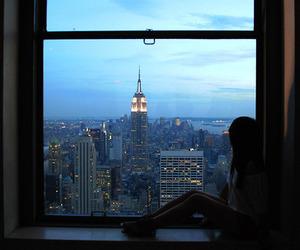 city, girl, and window image