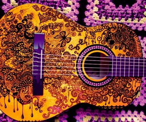 guitar, drawing, and music image
