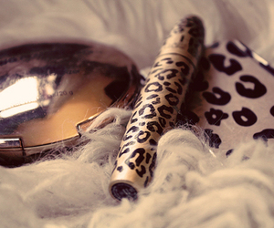 make up, leopard, and mascara image