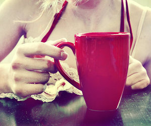 red, cup, and girl image