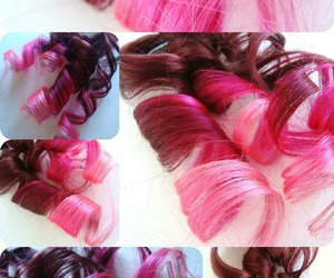 hair, hair extensions, and hot pink image