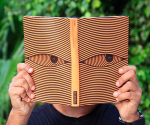 book, eyes, and orange image