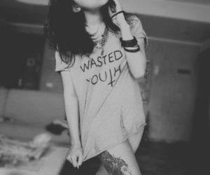 girl, tattoo, and wasted youth image
