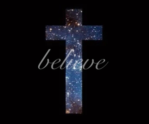 believe, galaxy, and cross image