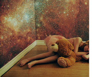 girl, bear, and galaxy image