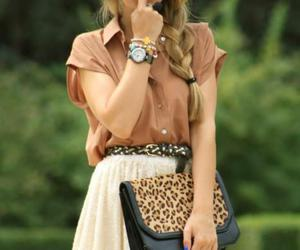 black, blouse, and clutch image