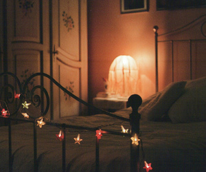 light, bed, and vintage image