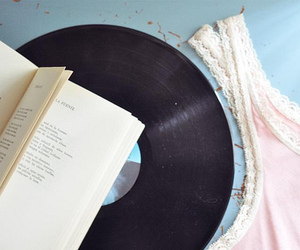 book, pink, and vinyl image