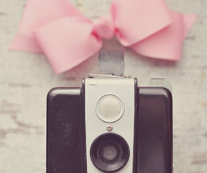camera, pink, and bow image