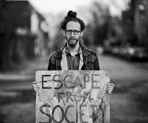 society, escape, and black and white image