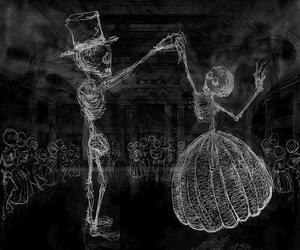 skull, black and white, and dance image