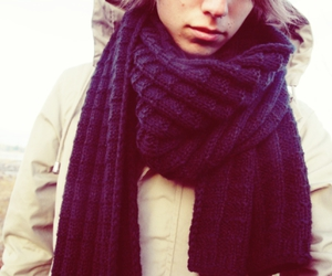 autumn, boy, and scarf image