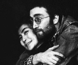 black and white, couple, and lennon image
