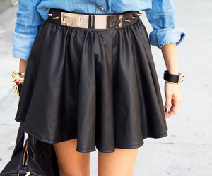 accessories, style, and black leather skirt image