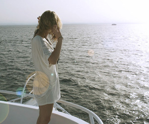 boat, girl, and light image