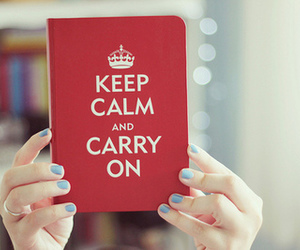 book, keep calm, and blue image