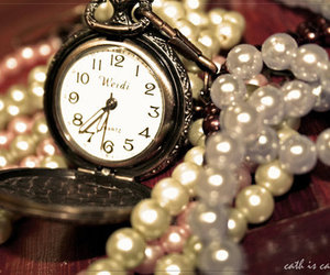 vintage, clock, and pearls image