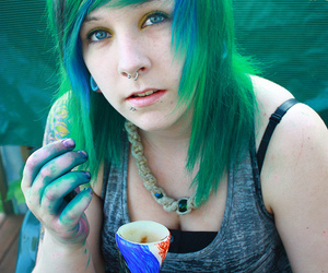 green hair and piercing image