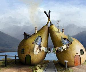 abstract, house, and pear image