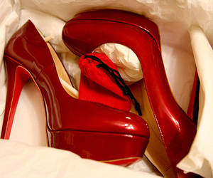 heels, red shoes, and shoe image