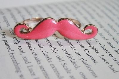 pink, ring, and mustache image