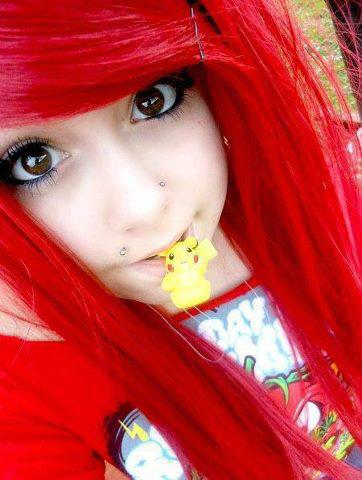 emo, hair, and pikachu image