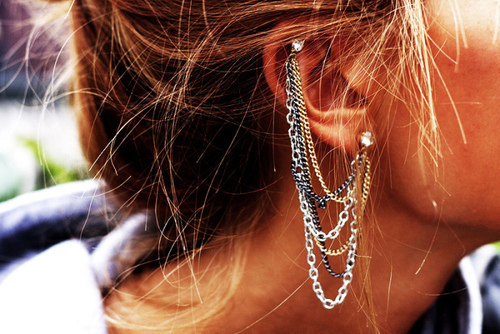 girl, earrings, and hair image