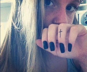 blonde, nails, and tattoo image