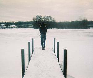 snow, girl, and alone image