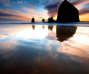 sunset, ocean, and oregon image